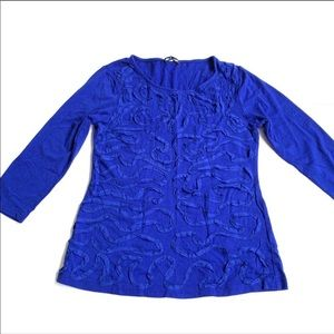 Cable & Gauge blue 3/4 sleeve shirt size small